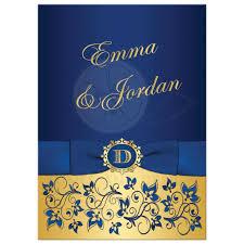 wedding invitations royal blue wedding invitation royal blue gold floral monogram printed