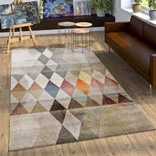 Schlafzimmer In Beige Braun Designer Teppich Bunte Raute Muster Konturenschnitt In Beige Braun