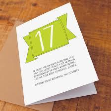 17th birthday card birthday card 17 card on