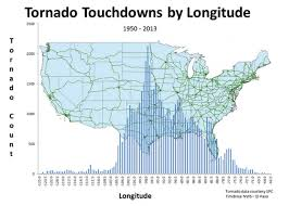 Longitude And Latitude Map Of The World A New Spin On Mapping U S Tornado Touchdowns Climate Central