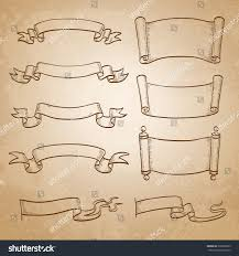 sketch set banners vintage ribbons scrolls stock vector 390092923