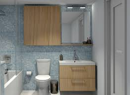 foxy small blue bathroom decoration using mirror oak wood wall