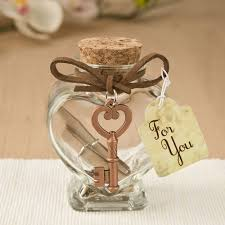 jar favors glass heart message jar with copper metal key accent wedding