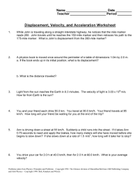 Speed Velocity And Acceleration Worksheet With Answers Equations Of Motion Worksheet