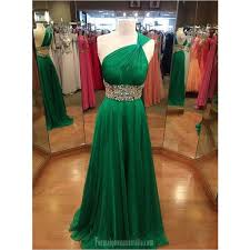 long green chiffon prom dresses one shoulder crystal floor length