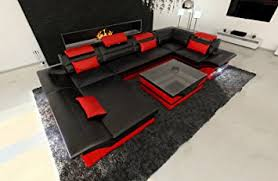 Big Leather Sofa Big Leather Sofa Enzo With Led Lights Kitchen Dining
