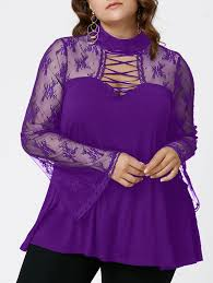 plus size flare sleeve criss cross see thru blouse in purple xl