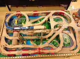 train and track table wooden train track table set plum kids wooden train set and track