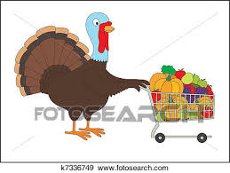clip of thanksgiving turkey with shopping cart of