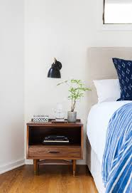 Midcentury Modern Bedding - decorating bedside tables bedroom eclectic with indigo bedding mid