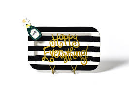coton colors happy everything platter black stripe happy everything mini rectangle platter with