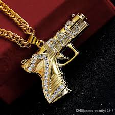 Double Plated Gold Name Necklace Wholesale 2017 Gold Plated Gun Hiphop Bling 2pac Pendant Necklace