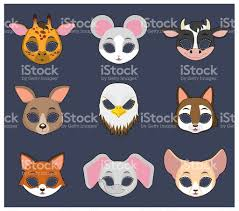 animal mask set 4 for halloween and various festivities stock