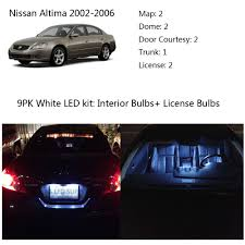 nissan altima 2013 headlight bulb size 9pcs white interior led kit light bulbs for nissan altima sedan