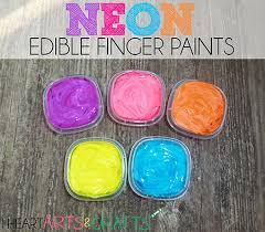 neon edible finger paint toddler activity