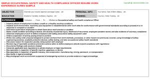 Compliance Officer Resume Sample by Occupational Safety And Health Compliance Officer Job Title Docs