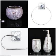 5 Piece Bathroom Set by Crackle Glass 5 Piece Bathroom Set Toilet Roll Holder Towel Ring