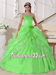 spring green strapless embroidery beading ruches sweet 15 dresses