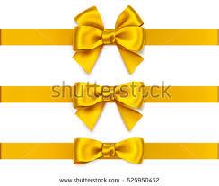 decorative ribbon set decorative golden bows horizontal ribbons stock vector