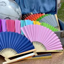 personalized wedding fans personalized colored paper fans with metallic foil labels