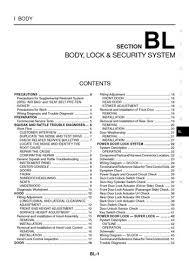 2004 nissan x trail body lock u0026 security system section bl