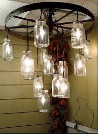 Canning Jar Lights Chandelier How To Make A Wagon Wheel Chandelier With Mason Jars Rosepourpre