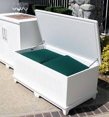 simple white patio cushion storage with deck storage box and