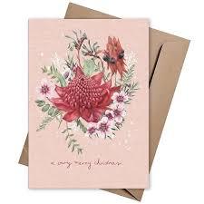 the linen press xmas card merry christmas pink waratah biome