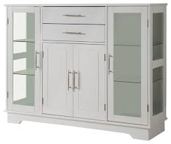 Kitchen Display Cabinet White Wood Kitchen Buffet Display Cabinet With Storage Drawers