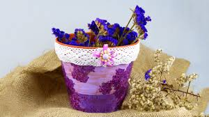 Lilac Flower by Diy Decoupage Lilac Flower Pot Youtube