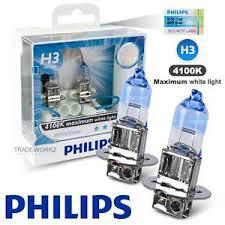 genuine philips h3 white vision hi lo halogen bulb 4300k 12v 55w
