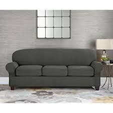 grey twill sofa slipcover buy gray sofa slipcover from bed bath beyond