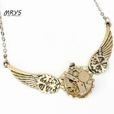 diy punk necklace images Steampunk gothic punk rock angel wings watch parts metal gear jpg