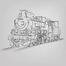 abstract vector illustration of an old locomotive sketch royalty