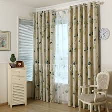 Insulated Window Curtains Beige Green Floral Print Polyester Insulated Window Curtains