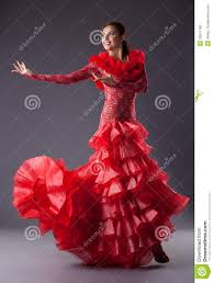 young woman flamenco dancer posing in red royalty free stock