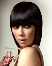 how to cut hair with rounded corners in back sleek glassy bob and a fringe cut with rounded corners