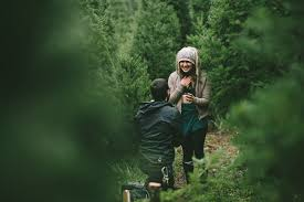marriage proposal at a christmas tree farm