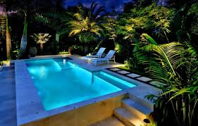 view in gallery backyard with an illuminated pool and tropical foliage
