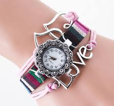 pink bracelet watches images Vintage fashion love ladies 3 roped slim weaving canvas bracelet jpg
