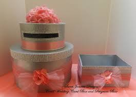 bling wedding programs wedding cake card box program box coral bling ribbon