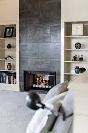 black tile for fireplace in bedroom