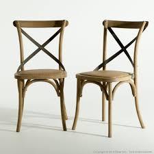 chaise en decoration com chaise en bois assise en rotin dos croisé métal x2