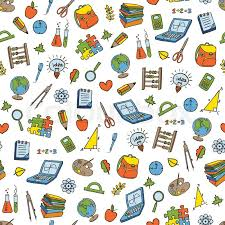 back to school doodle seamless pattern sketchy school
