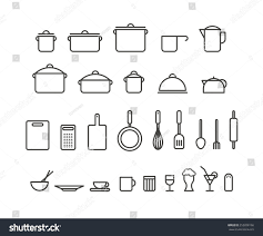 kitchen tools silhouette icons collection design stock vector