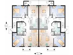 american house plan four unit multiplex identical floor plans