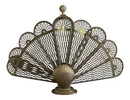shell motif brass fireplace screen chairish