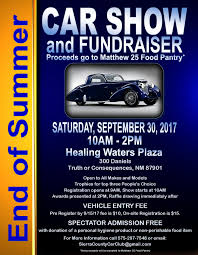 end of summer car show and fundraiser at healing waters plaza
