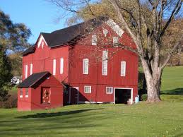 Red Barn Real Estate Red Barn With White Windows And A Black Tin Roof In Pennsylvania