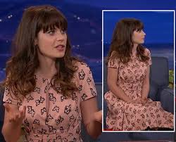 zooey deschanel new girl fashion wwzdw what would zooey deschanel s peach pink butterfly print dress on conan